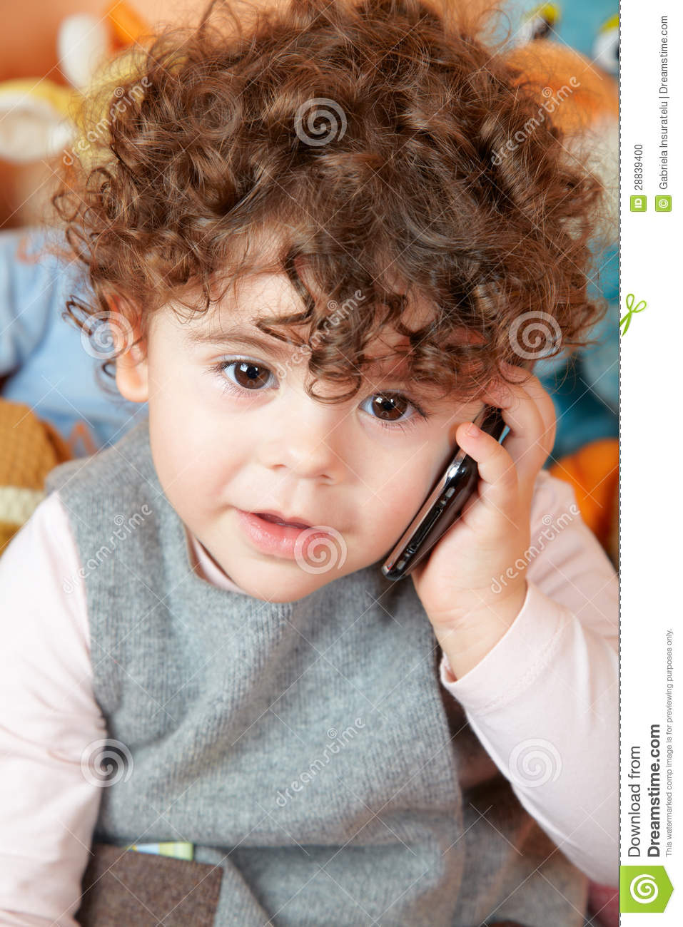 Baby Girl Talking On Phone Stock Photo Image Of Cell