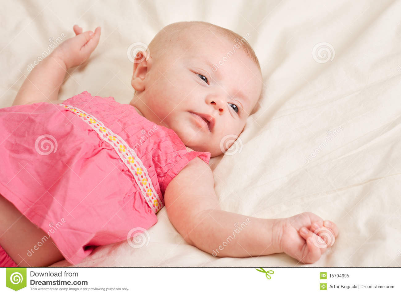 Baby Girl Toddler Lying On Bed Royalty Free Stock Photo ...