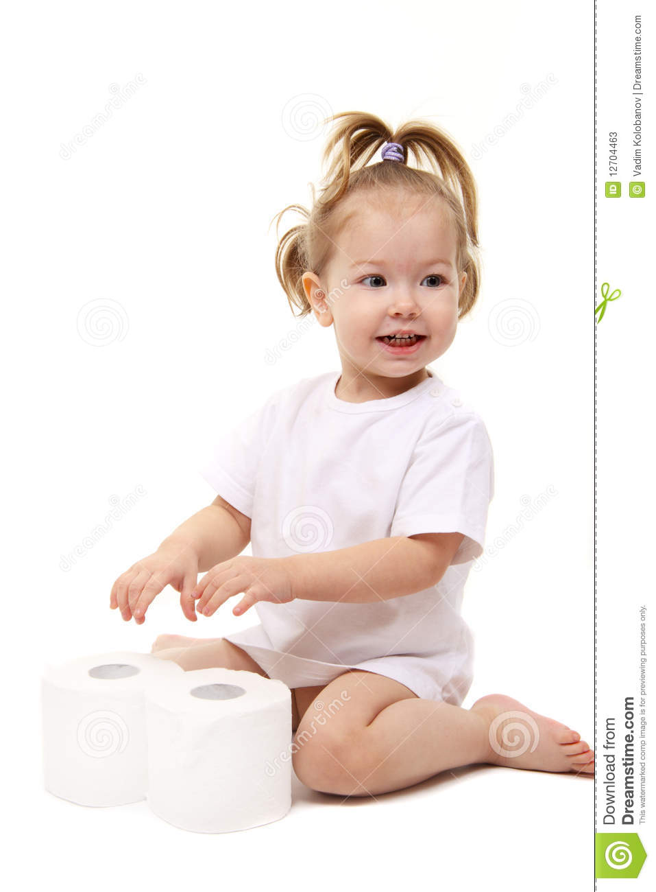 Baby Girl With Toilet Paper Royalty Free Stock