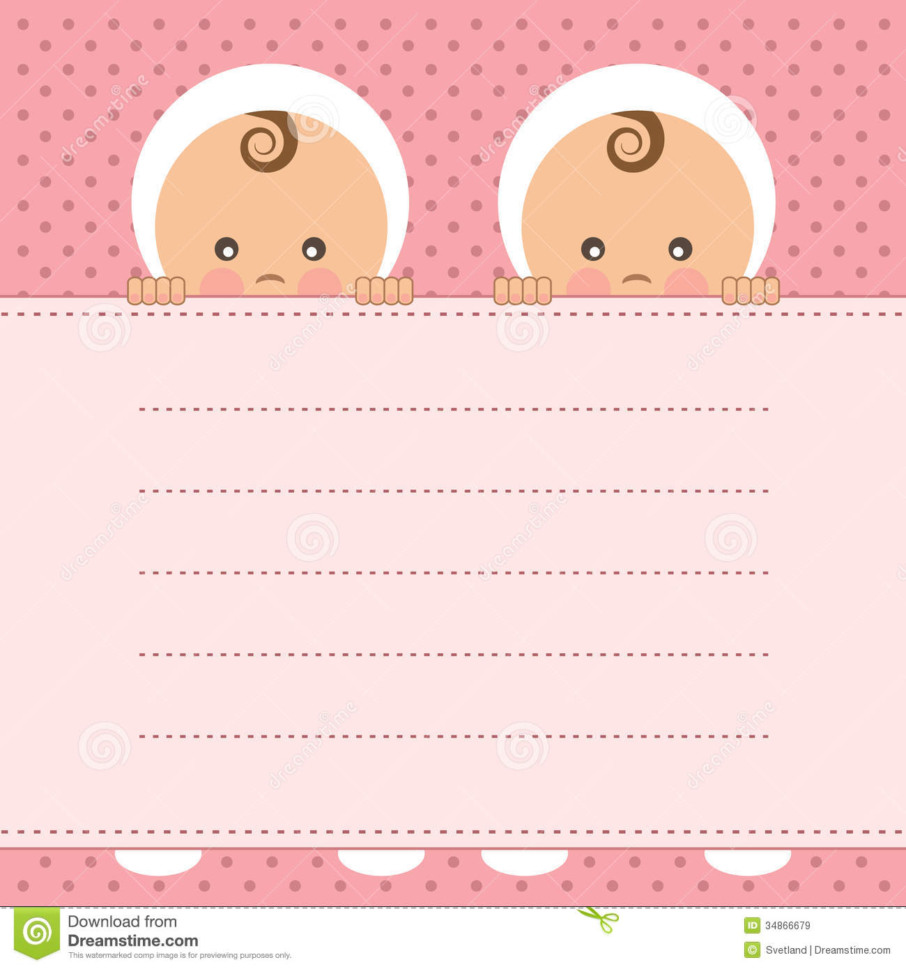 baby girl twins announcement card stock vector illustration of