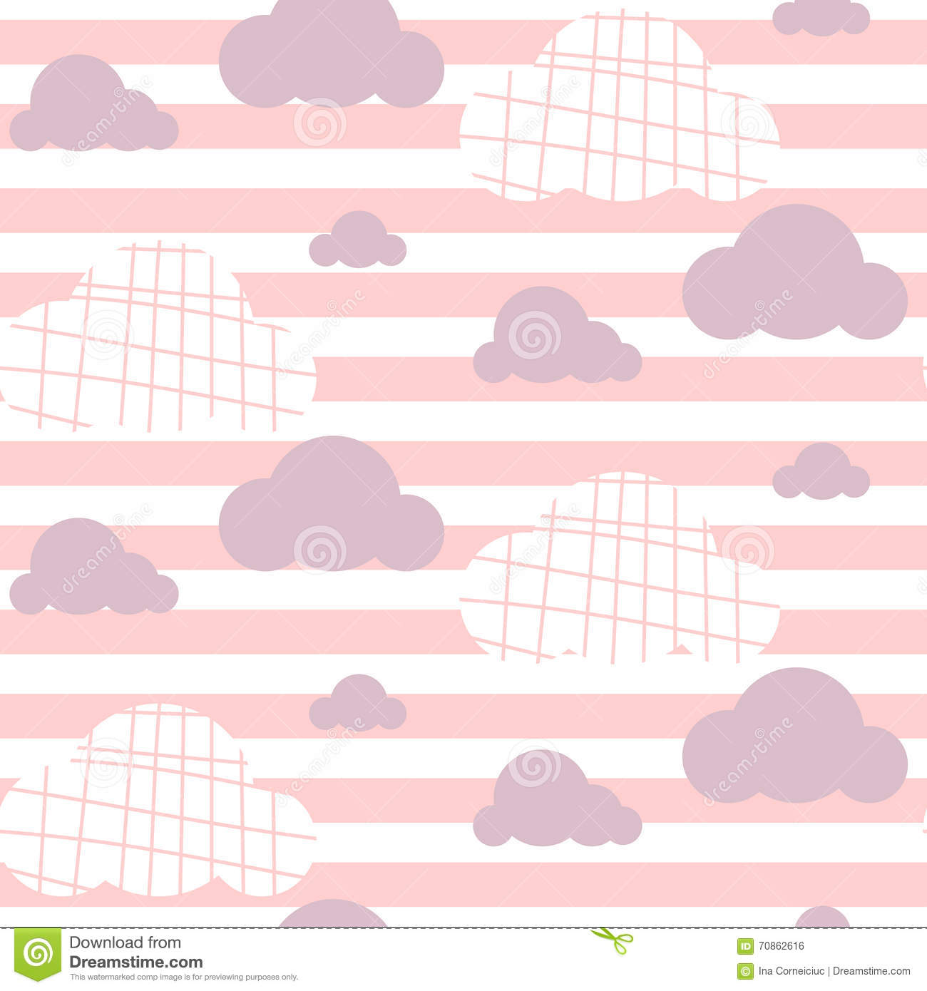 baby girl vector seamless pattern light pink fun sky print for