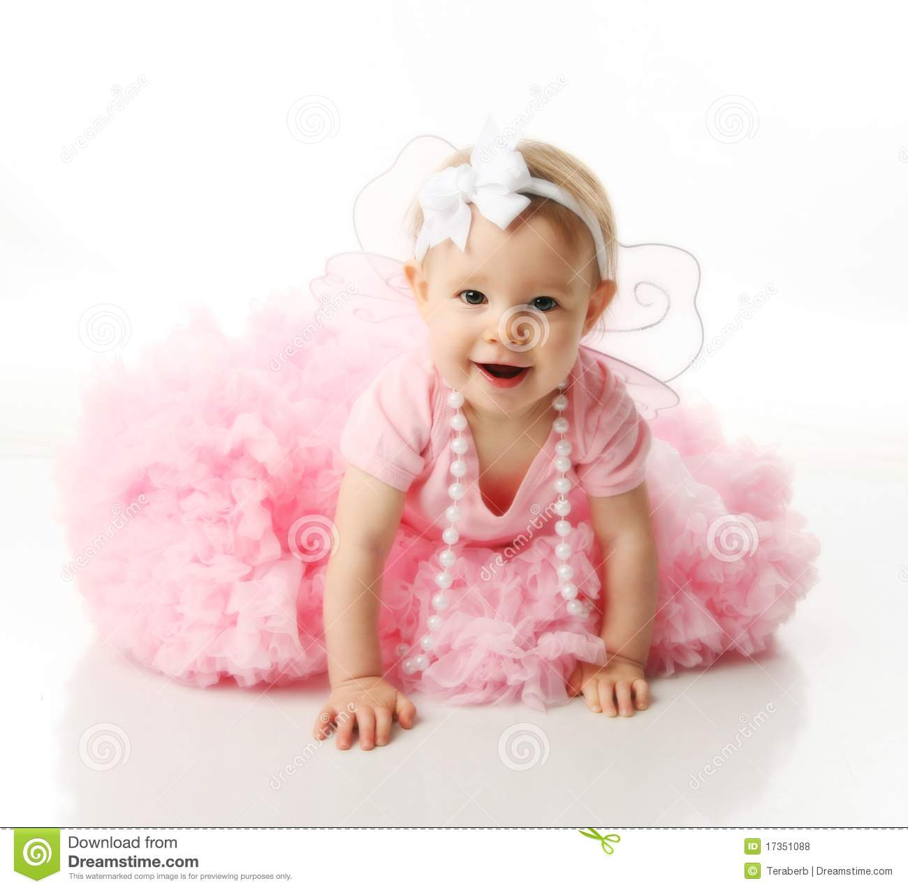 Baby Girl Wearing Pettiskirt Tutu Pearls