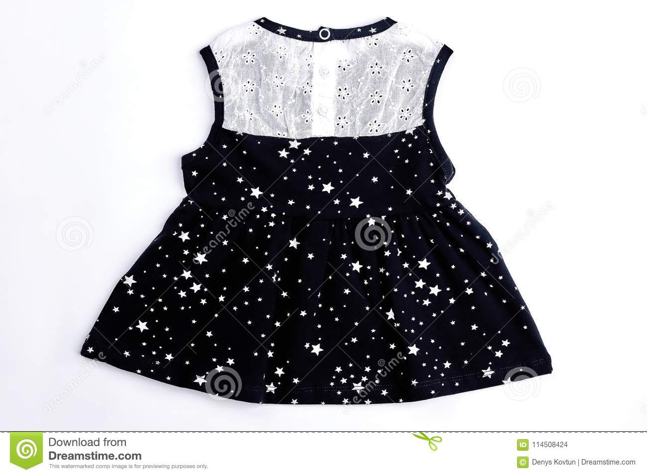 8d4b0c2dc Baby-girl White And Black Dress. Stock Photo - Image of apparel ...