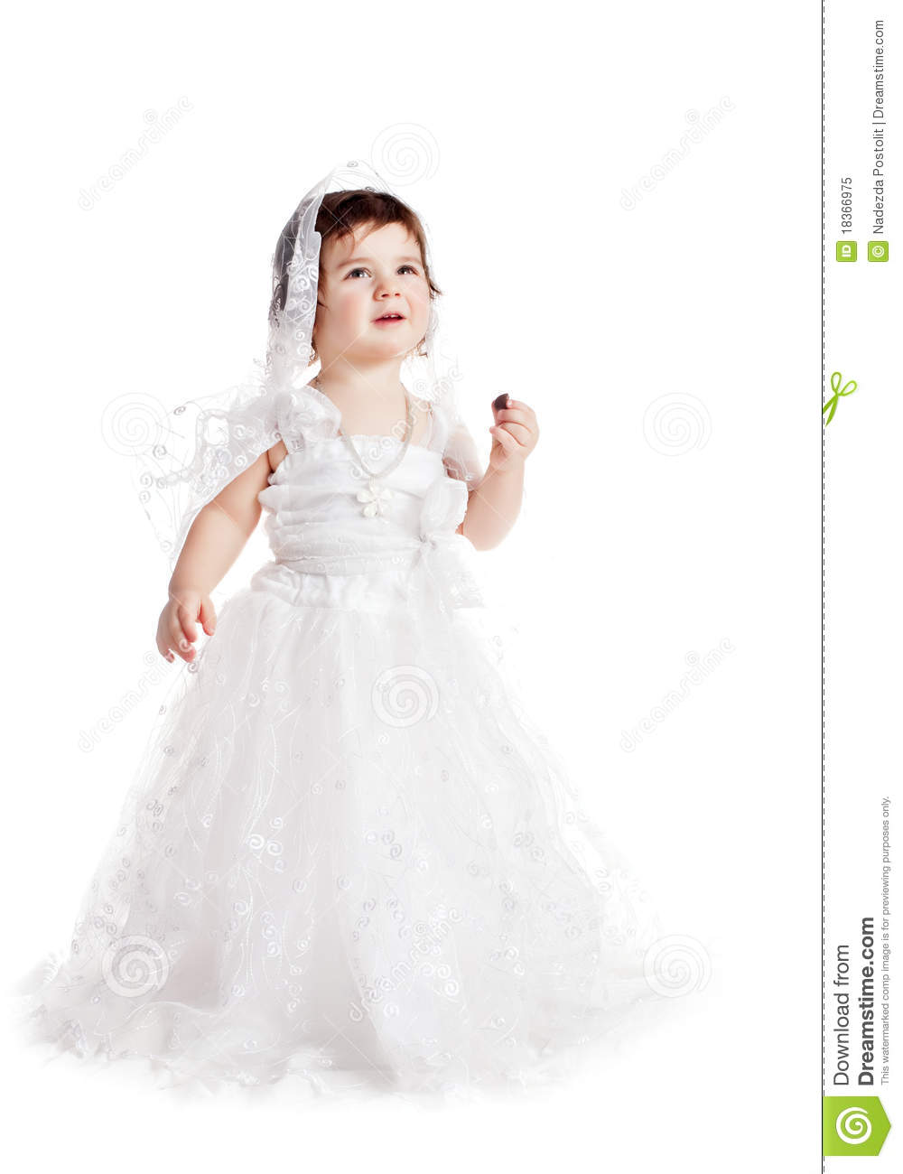 baby girl in a white wedding dress stock image image