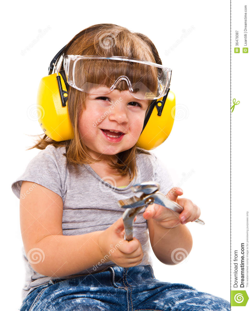 67e064ee8d7 Baby Girl With Working Tool Stock Image - Image of white