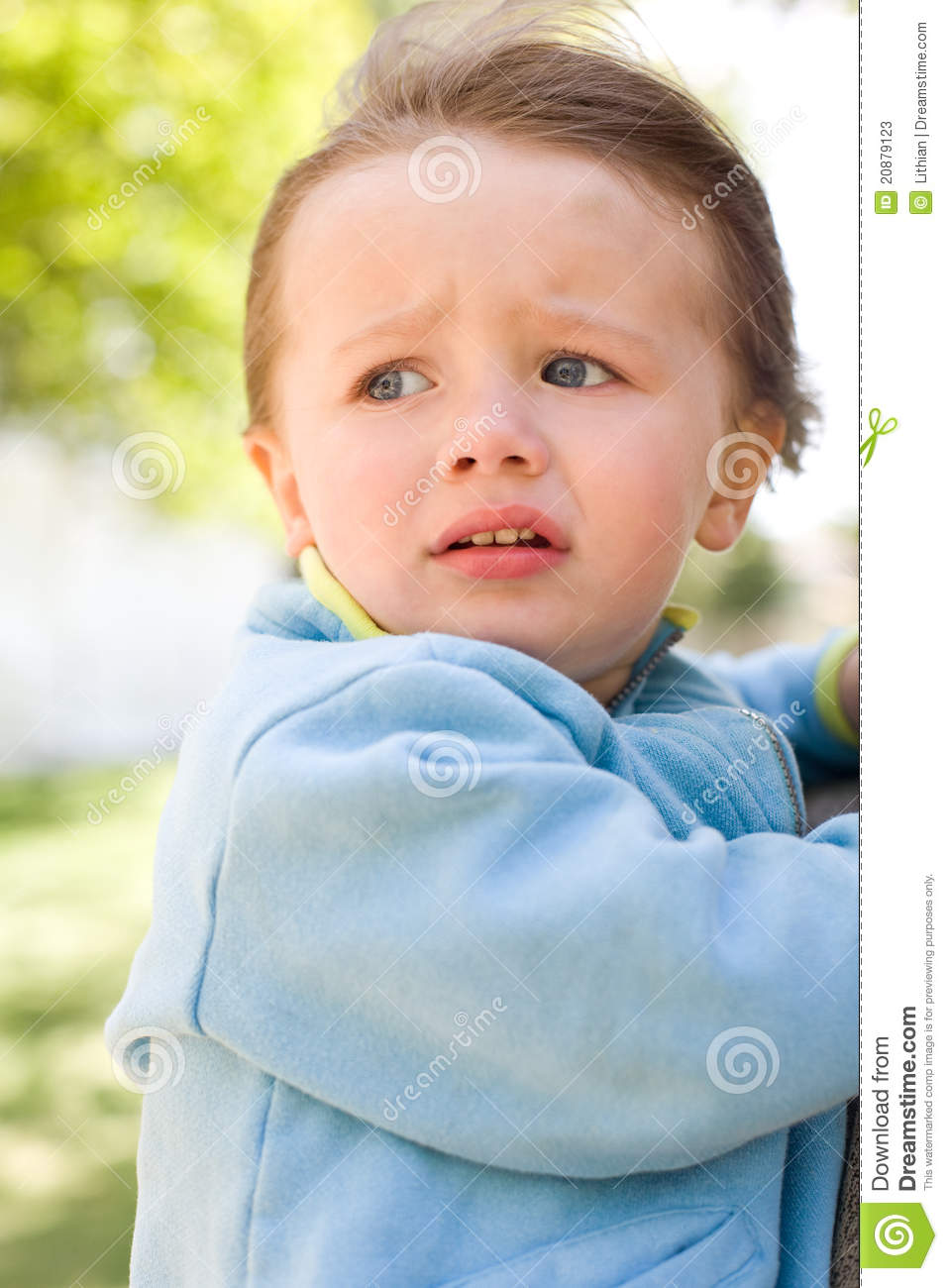baby girl with worried expression stock image image
