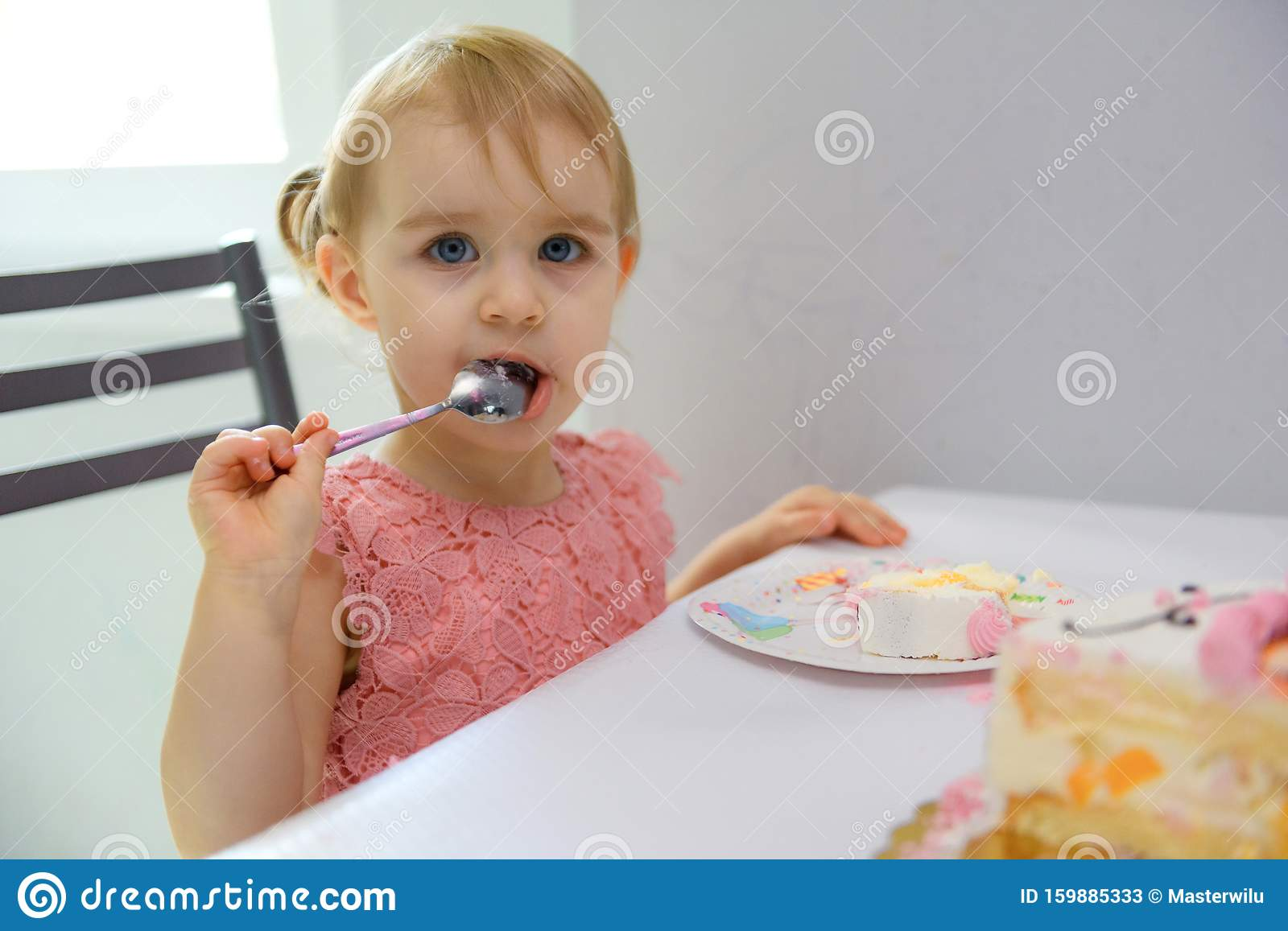 Fine Baby Girl 1 Year Old Eating Birthday Cake In Room Birthday Party Personalised Birthday Cards Petedlily Jamesorg