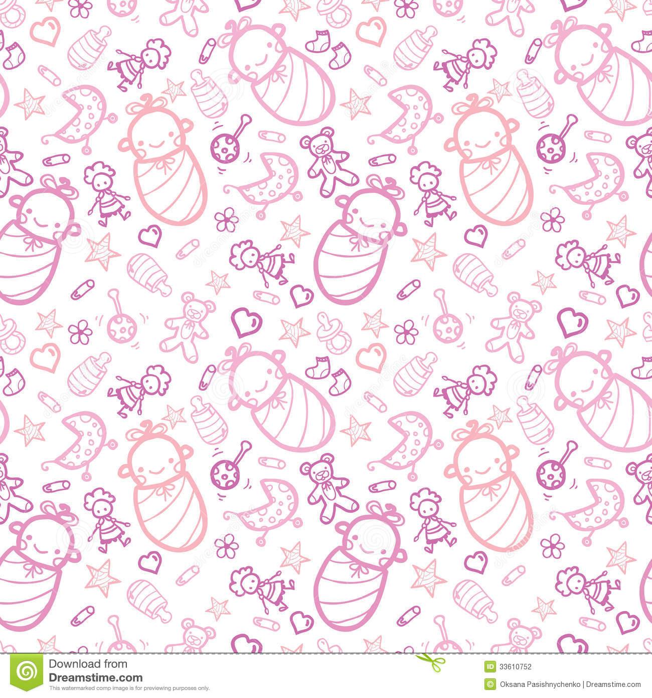 Baby Girls Seamless Pattern Background Stock Vector ...