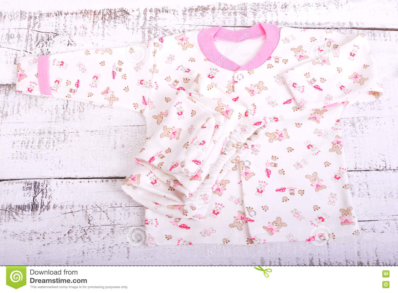 eeeb9480b Baby Goods Hanging On The Clothesline. Baby Blouse And Pants Sliders ...