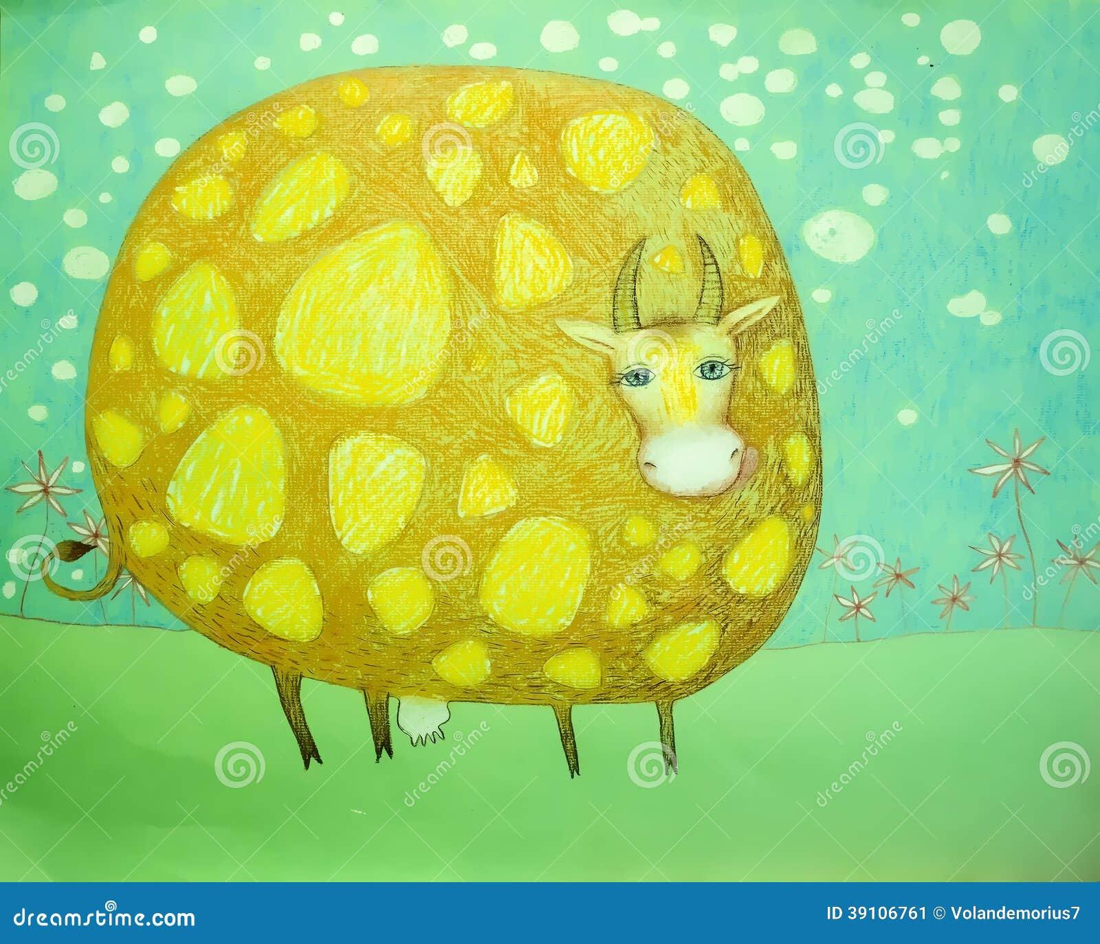 Baby grappige illustratie bevlekte koe