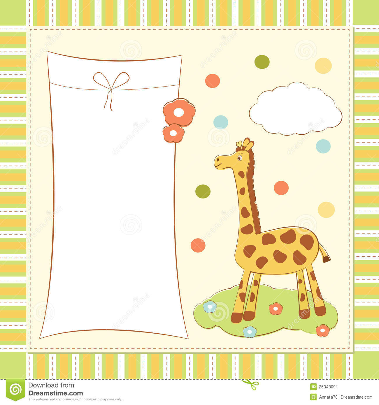 baby greeting card with giraffe stock vector
