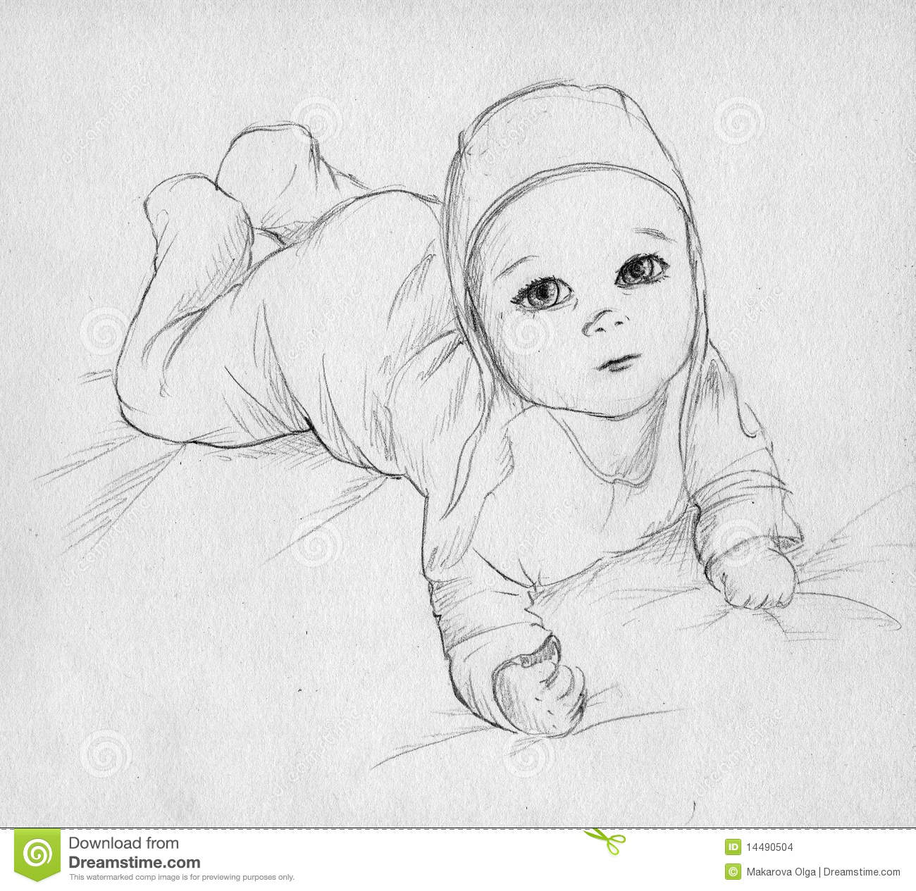 Cute baby lying on his or her tummy and looking up pencil drawing sketch