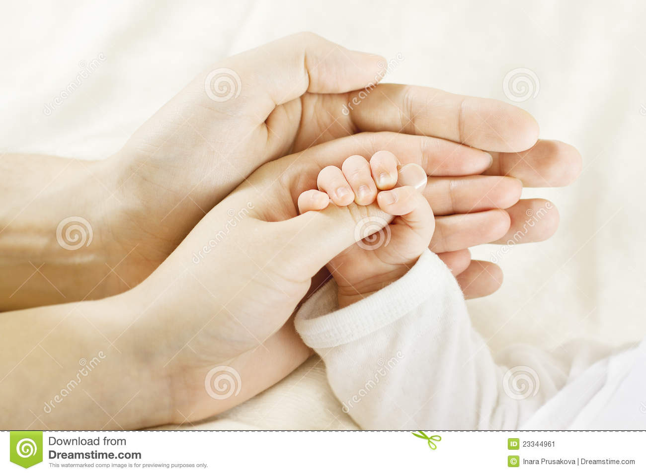 ... Mother Holding Newborn Kid. Child Hand Stock Image - Image: 23344961