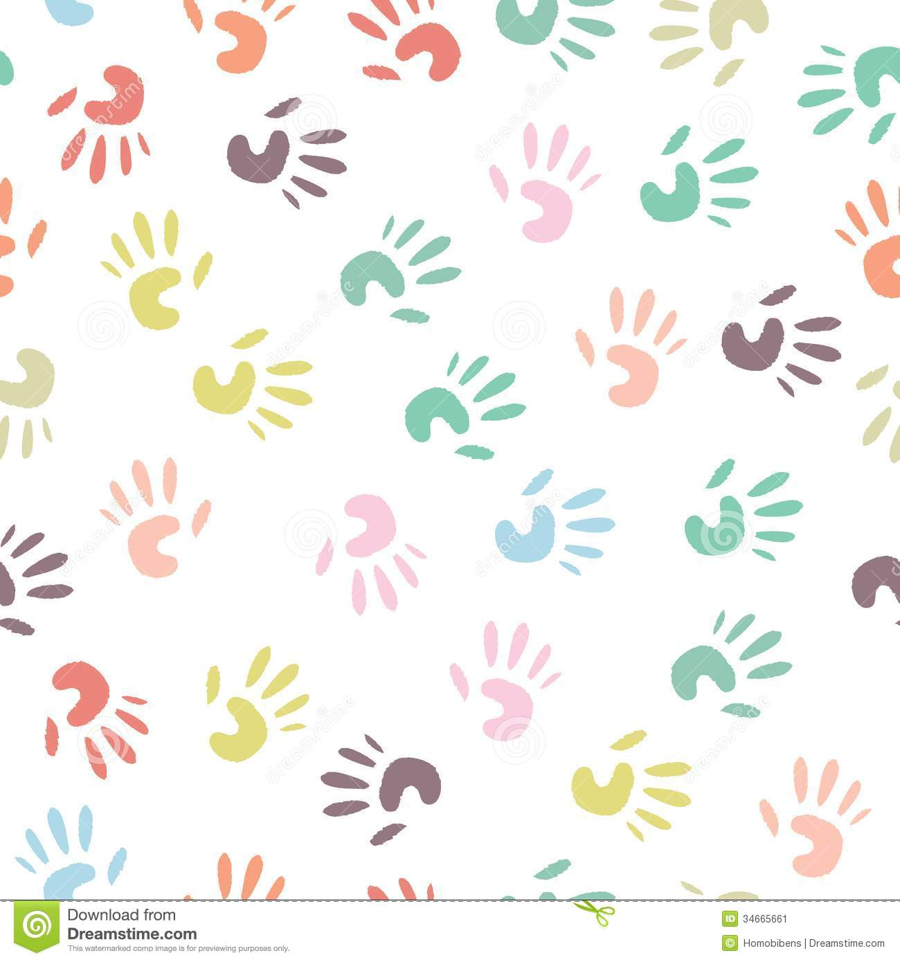 Baby Patterns : Baby colorful handprint, seamless pattern on a white background.