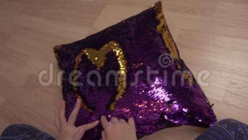 Baby Hands Drawing Heart Shape On Decorative Pillow With Sequin Adorable Little Girl Decorative Pillows