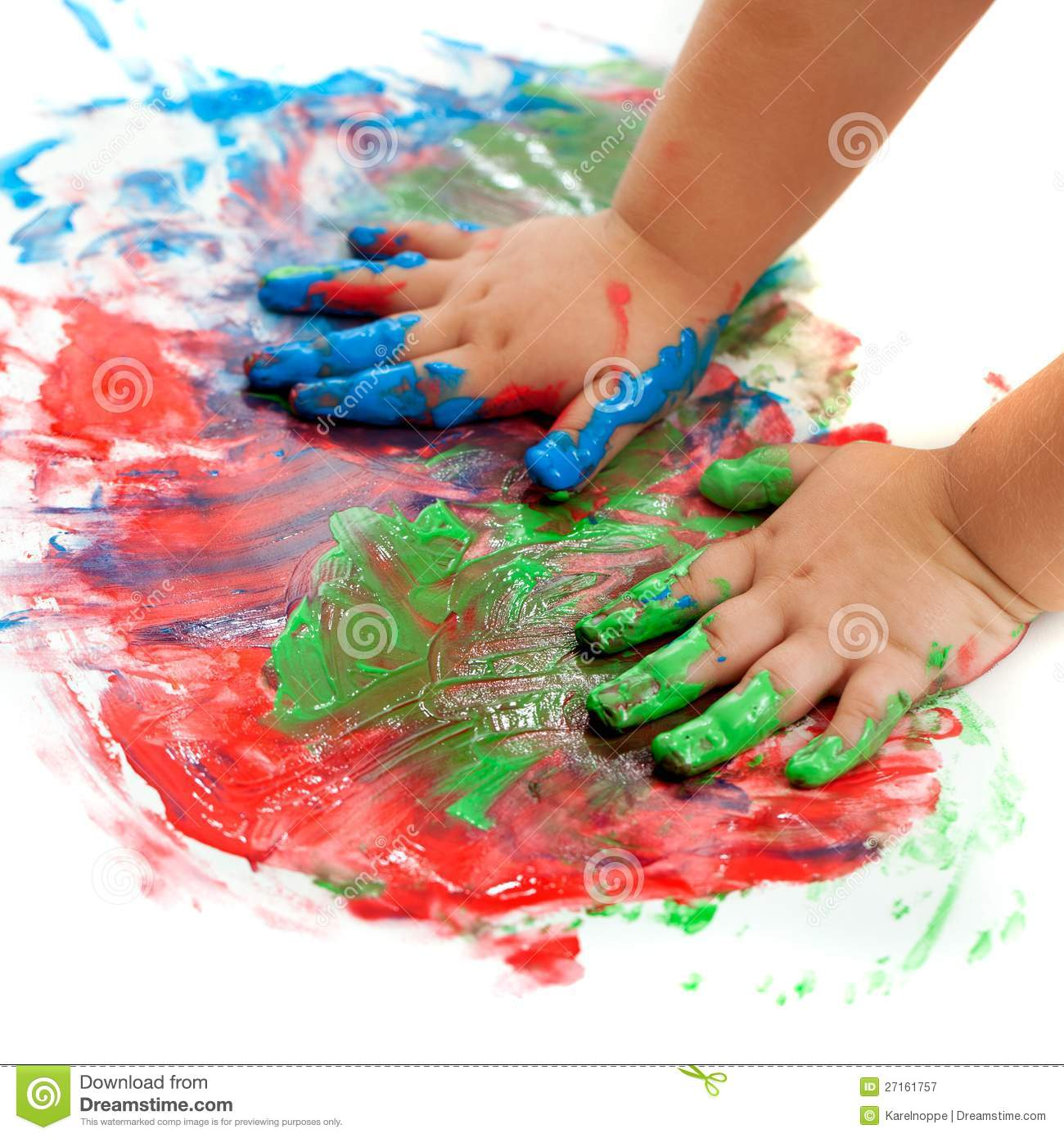 Baby Hands Painting Royalty Free Stock Photography