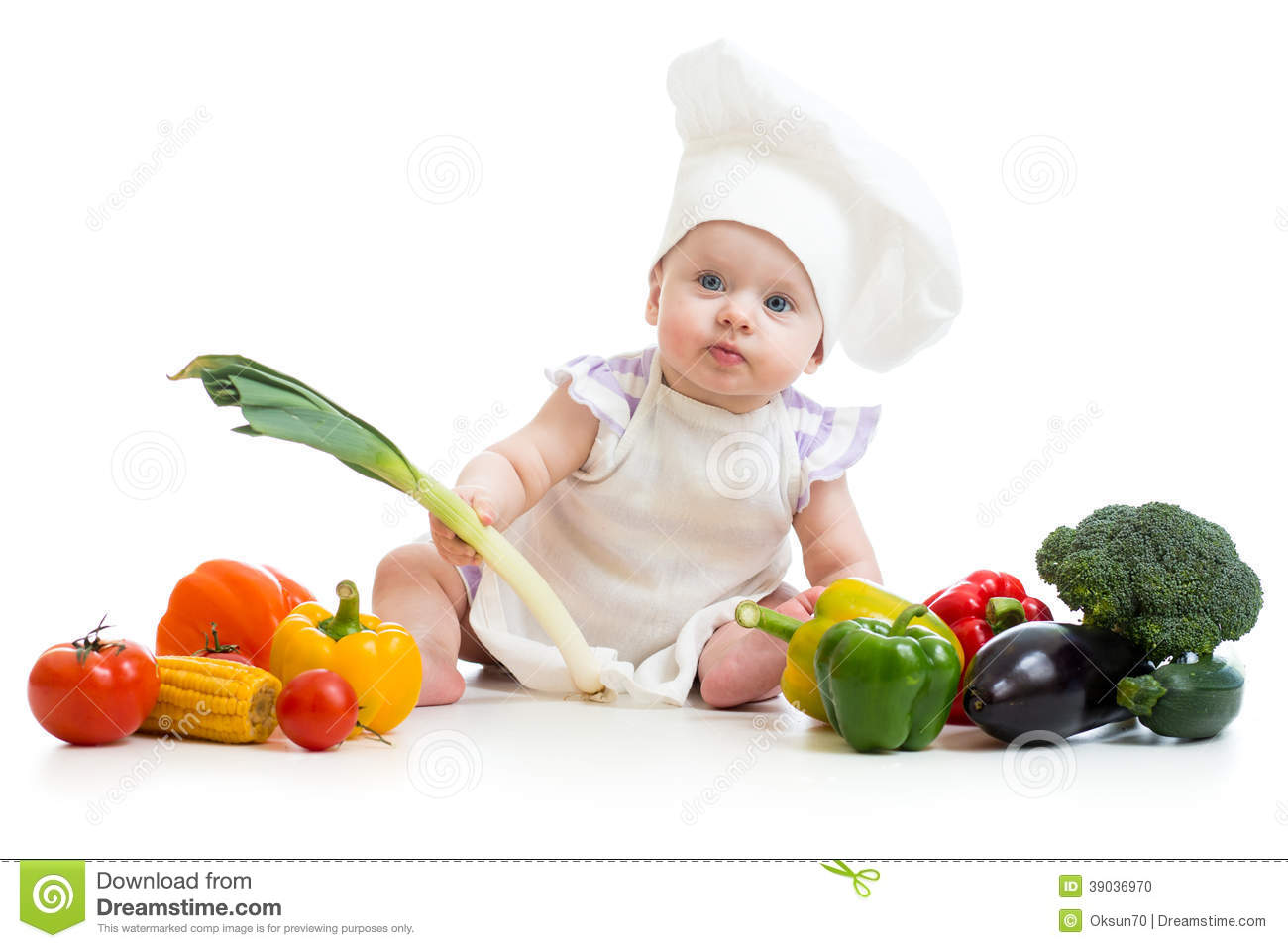 Baby With Healthy Food Vegetables Stock Photo - Image ...