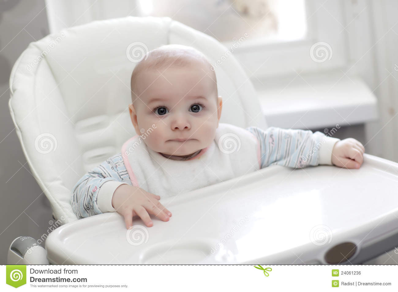 Baby in highchair stock photo image of cute pensive for Cute kids chairs