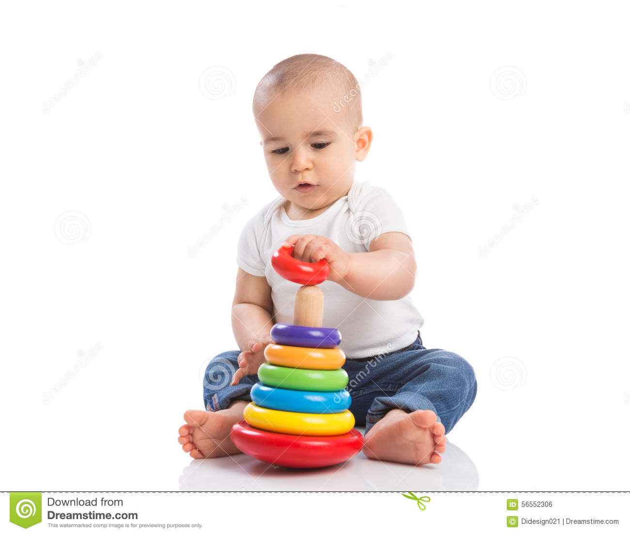 baby holding and playing with education toys stock photo