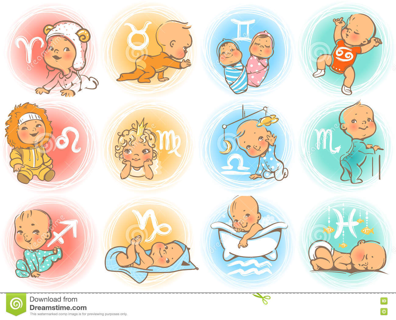 Baby horoscope stock vector  Illustration of icon, cute