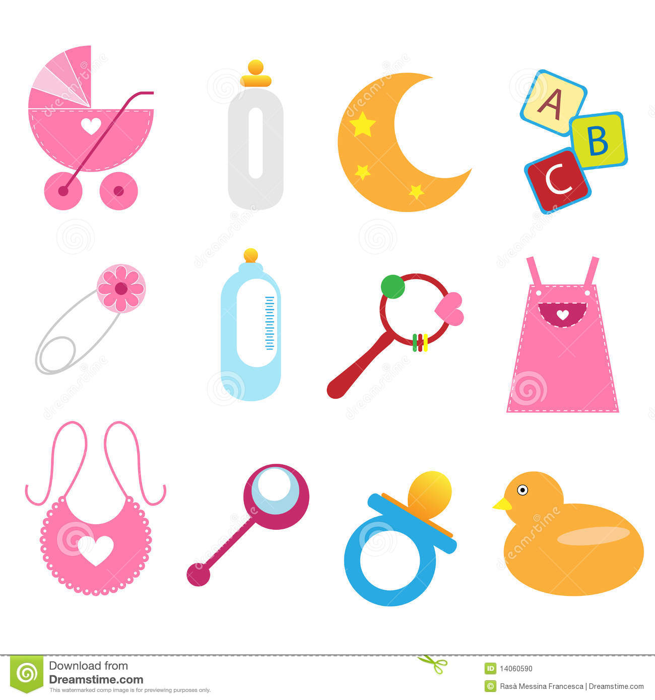 Baby Gift Vector : Baby icons girl stock vector illustration of clipart