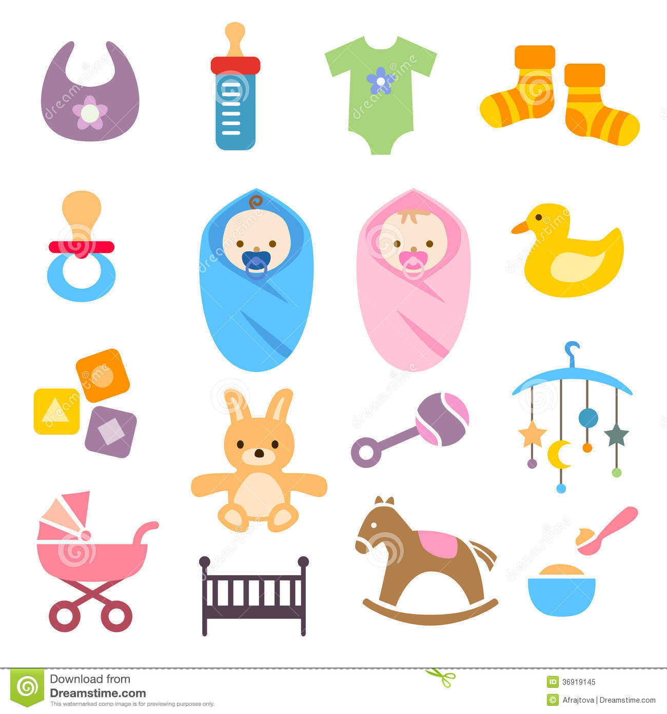Baby Icons Set Royalty Free Stock Photo - Image: 36919145