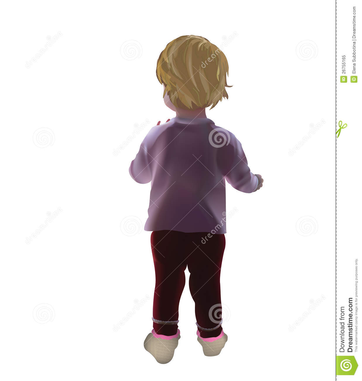 Baby Isolated Standing With Her Back Royalty Free Stock ...