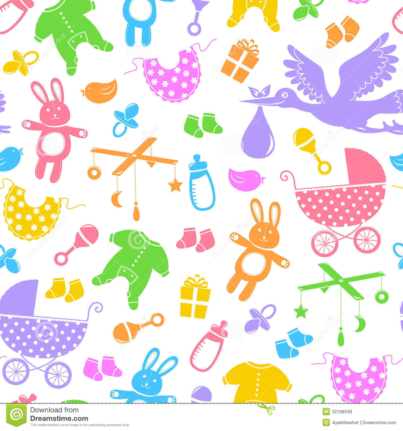 Baby Items Pattern Royalty Free Stock Images - Image: 32198349