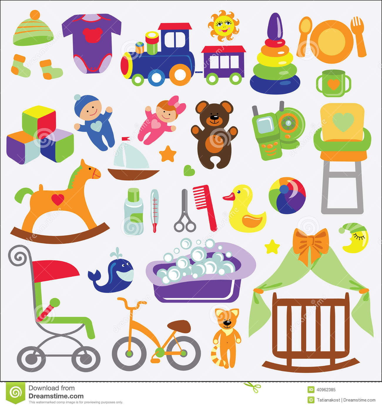 cute items for little Baby.Baby cartoon icons for girl and boys.Baby ...