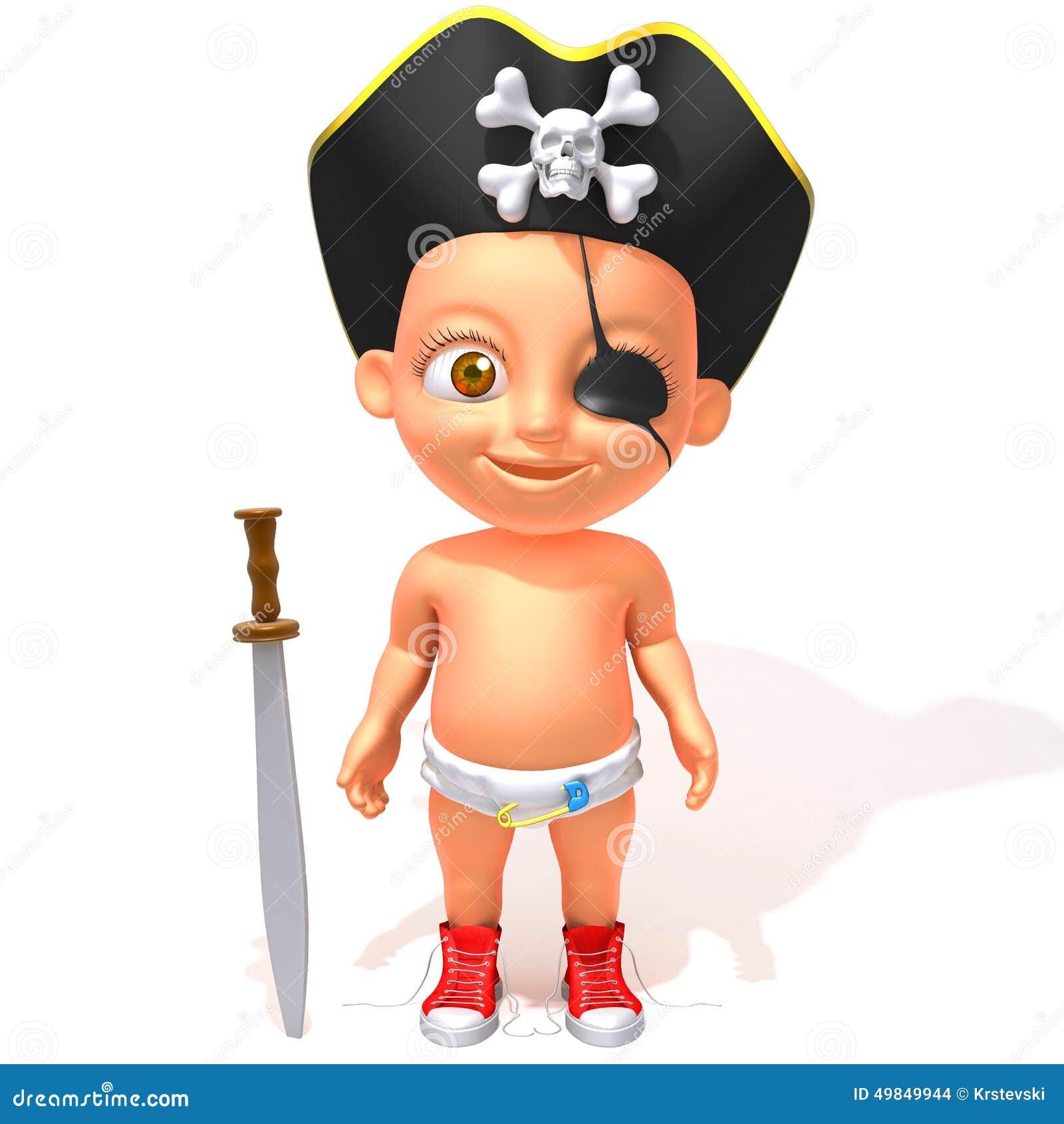 Download Baby Jake Pirate 3d Illustration Stock
