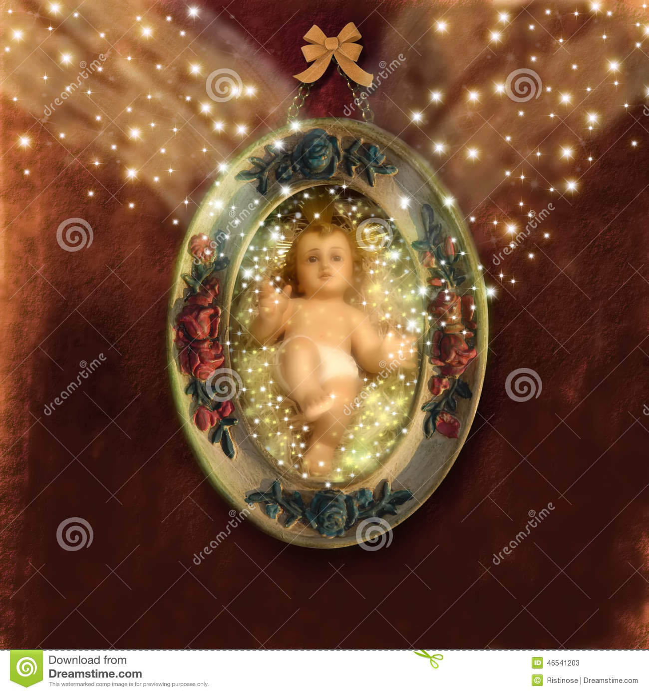 Baby Jesus Christmas Greeting Card Stock Image - Image of retro ...