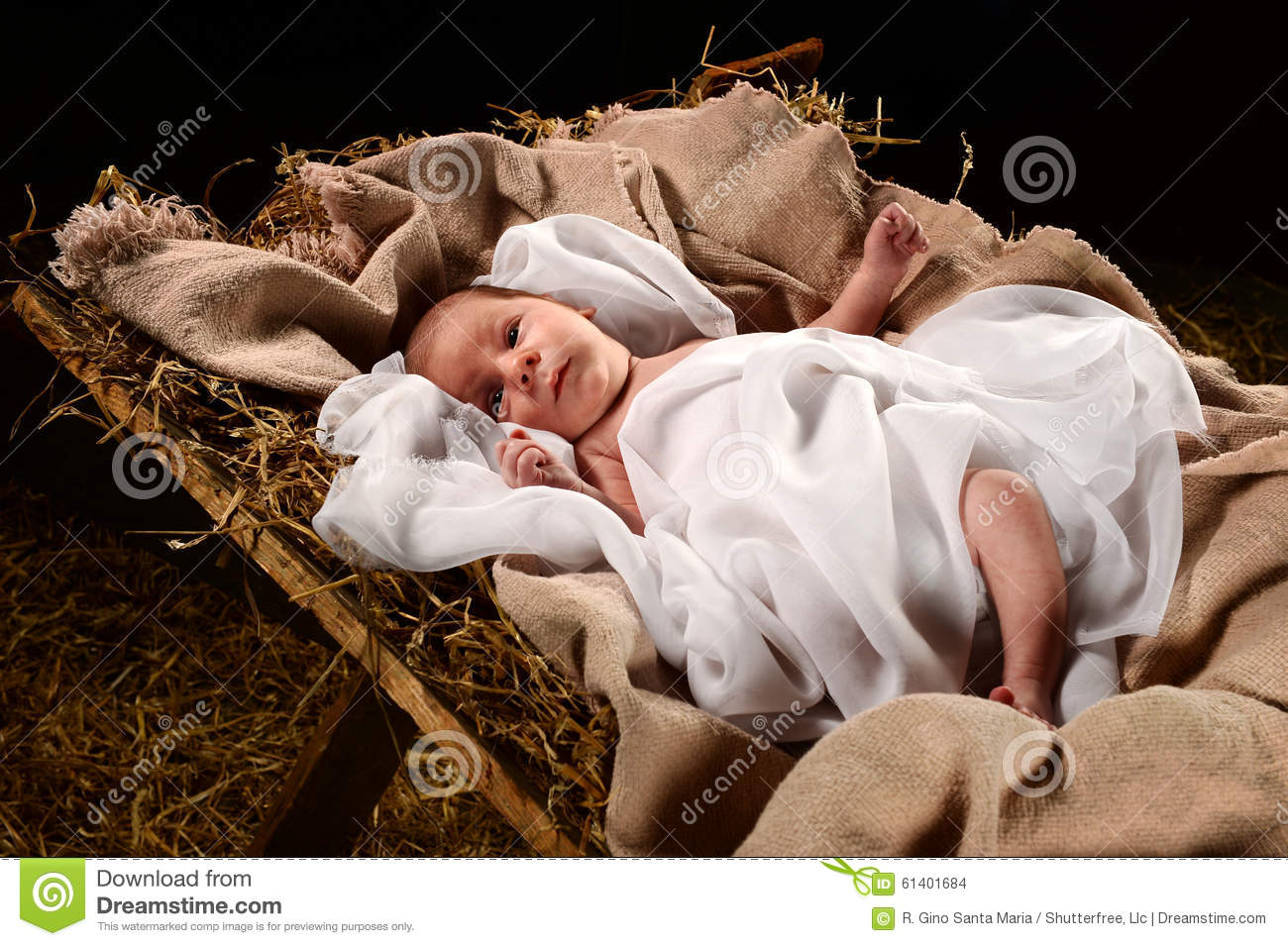 baby jesus on the manger stock photo image of holy swaddled 61401684