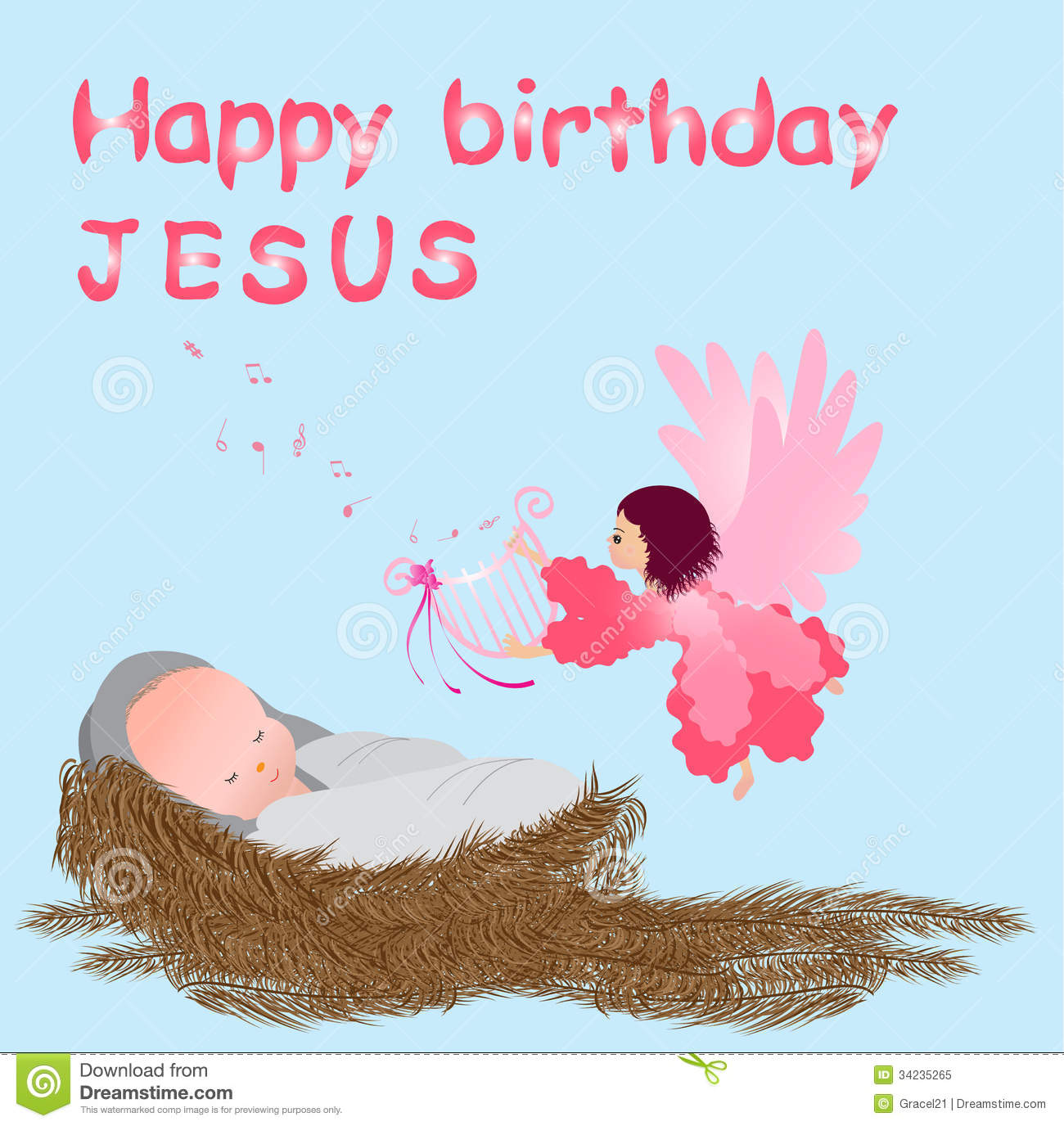Baby jesus in a manger stock vector. Illustration of ...  Happy All The Time Jesus