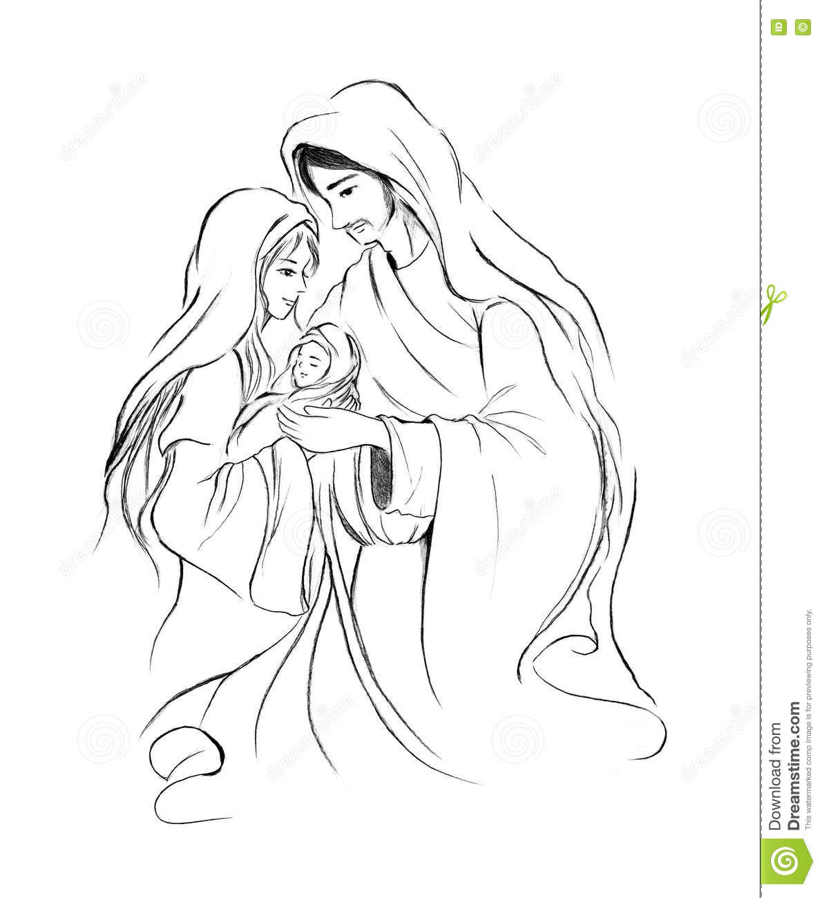 Baby Jesus Mary And Joseph In Abstract Line Art Drawing On