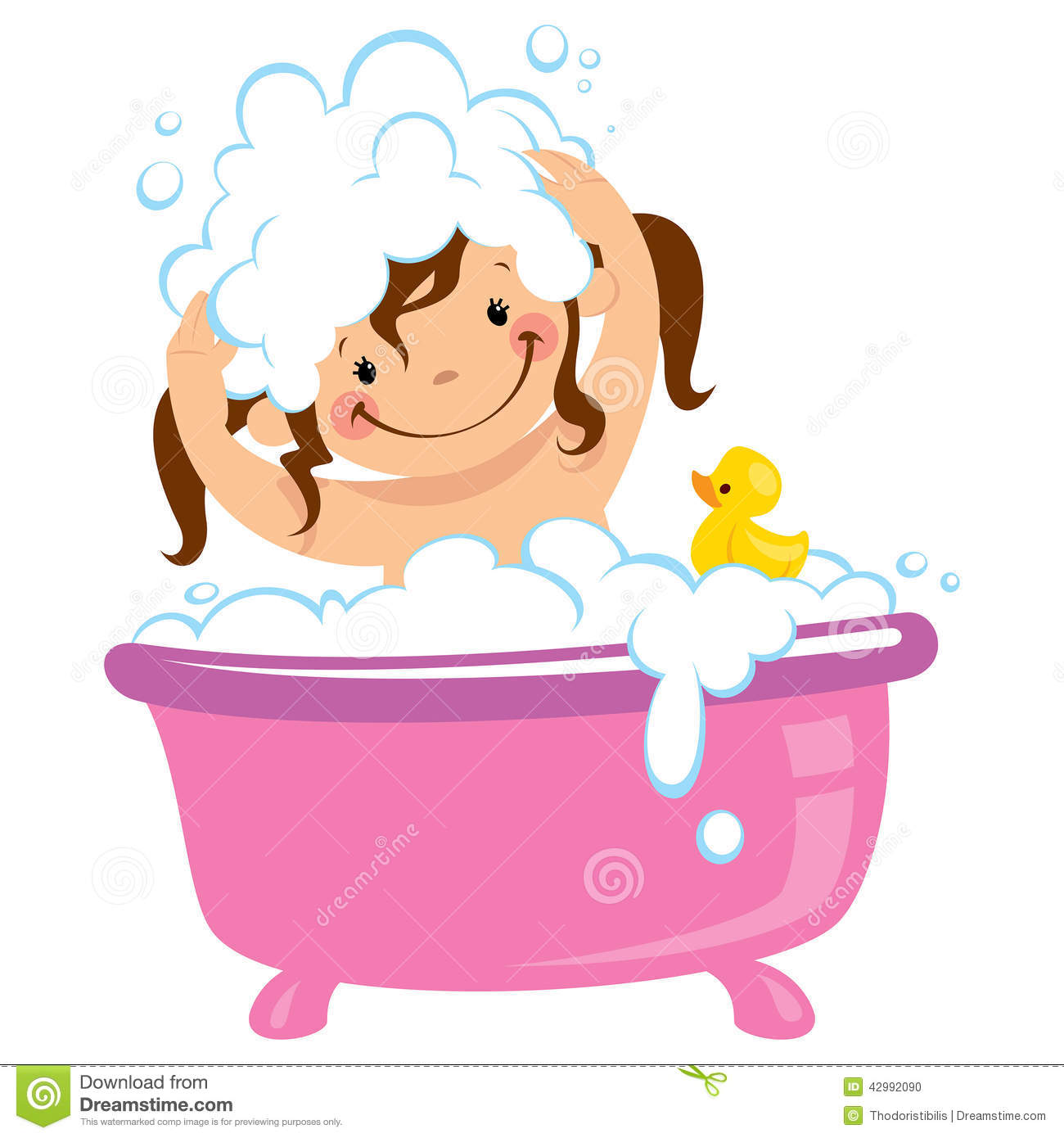 Baby Kid Girl Bathing In Bath Tub And Washing Hair Stock