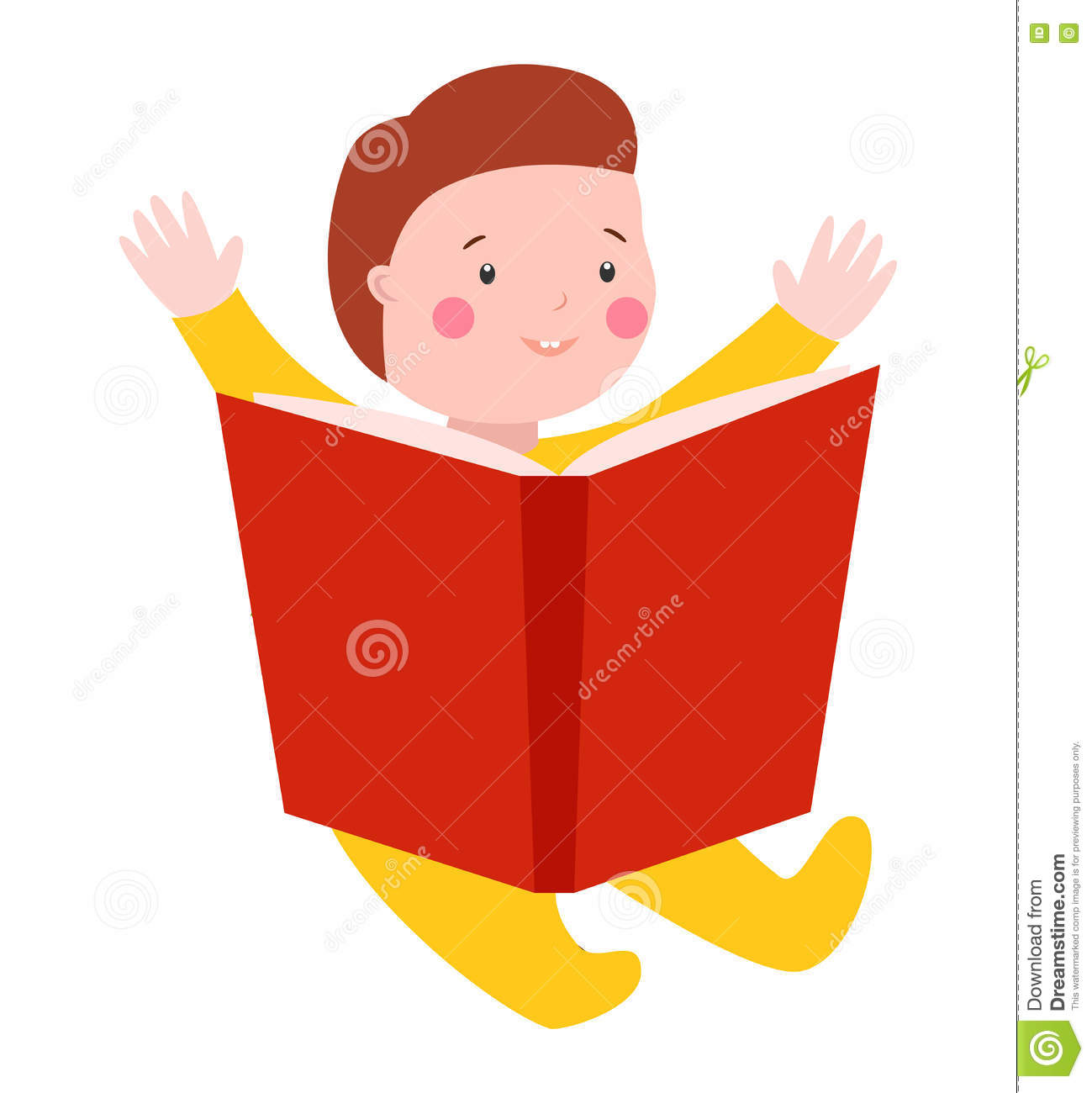 Baby Kid Read Book Vector Illustration Stock Vector