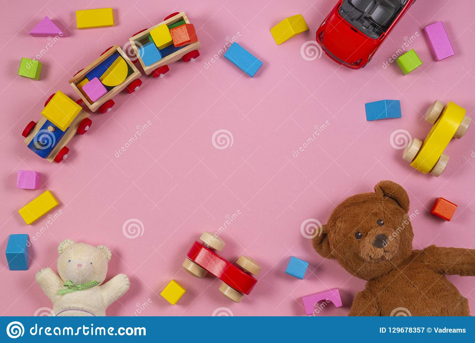 Baby Kids Toys Frame With Teddy Bear Toy Car Wooden Train