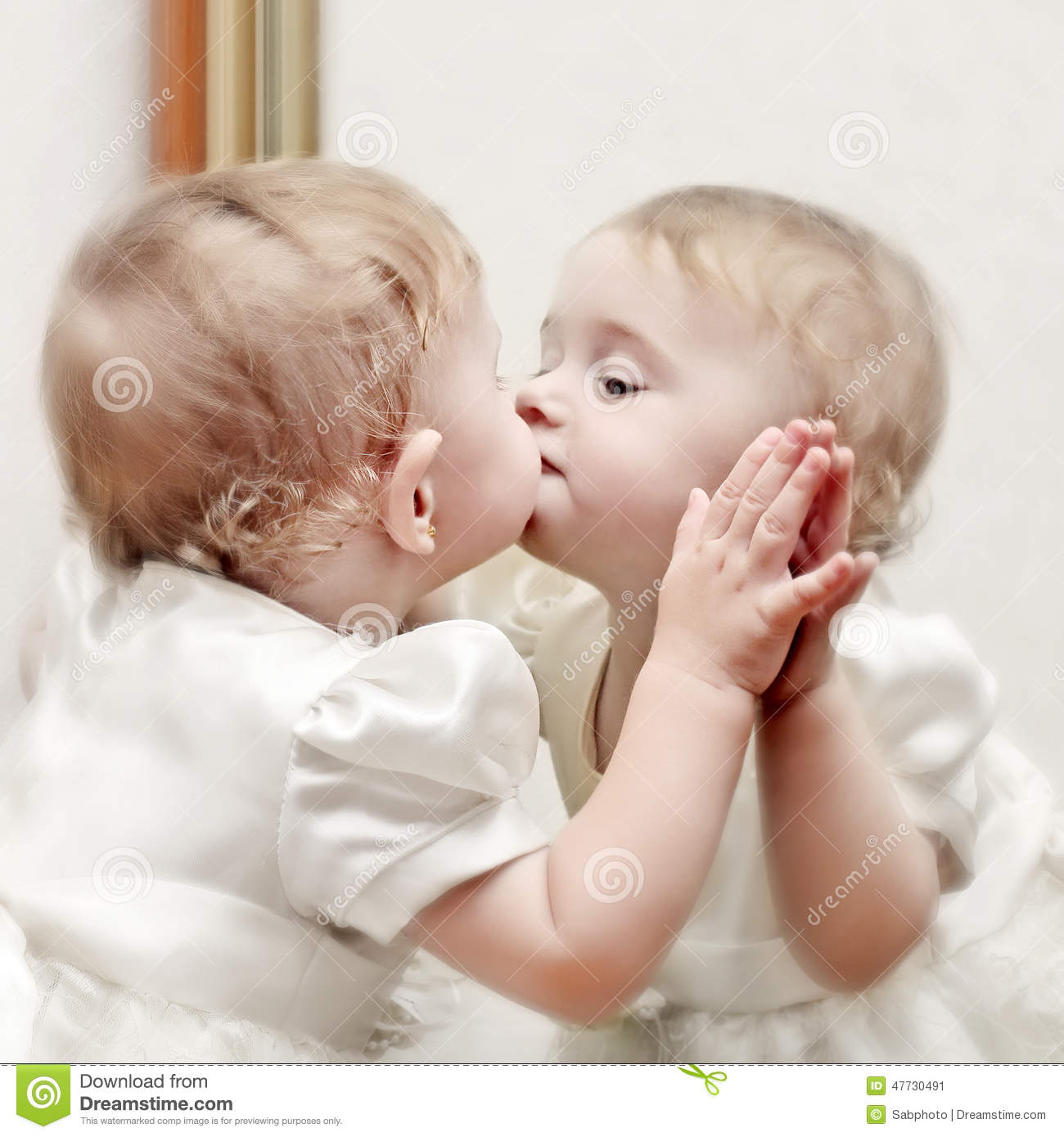 Baby kissing a mirror stock photo image 47730491 for Mirror kisses