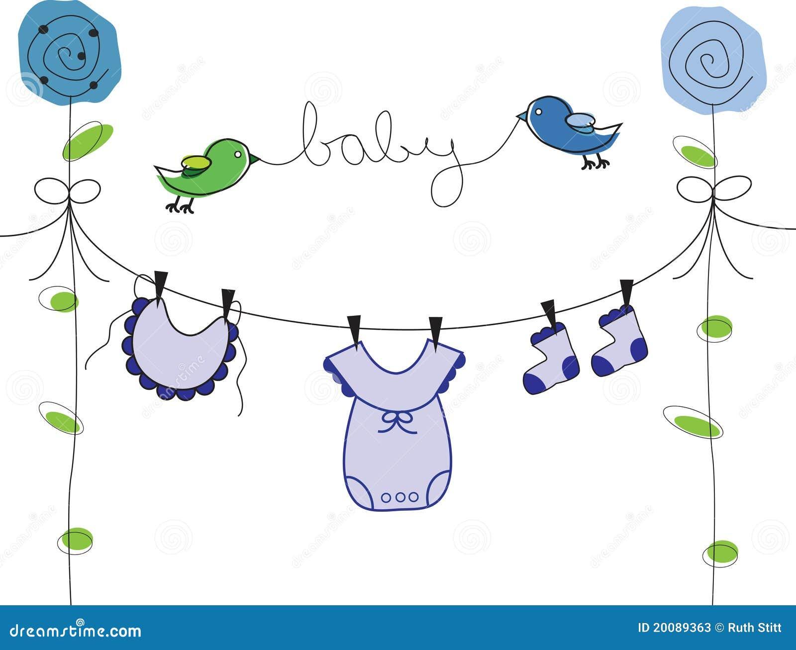 Kinderkleidung auf wäscheleine  Babykleidung Auf Wäscheleine - Zeichnung Stockfotografie - Bild ...