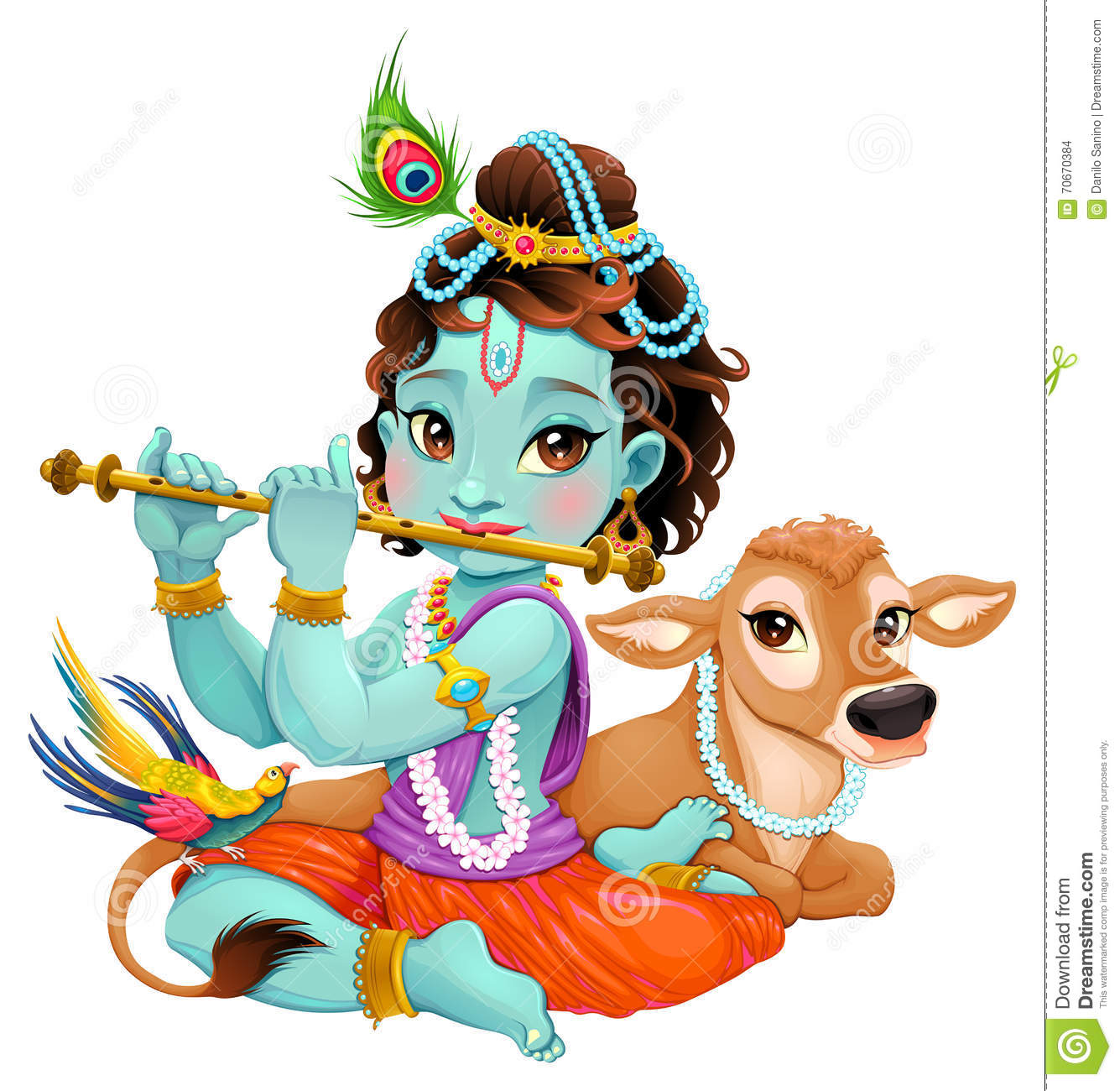 Cartoon Characters Krishna : Baby krishna with sacred cow stock vector image