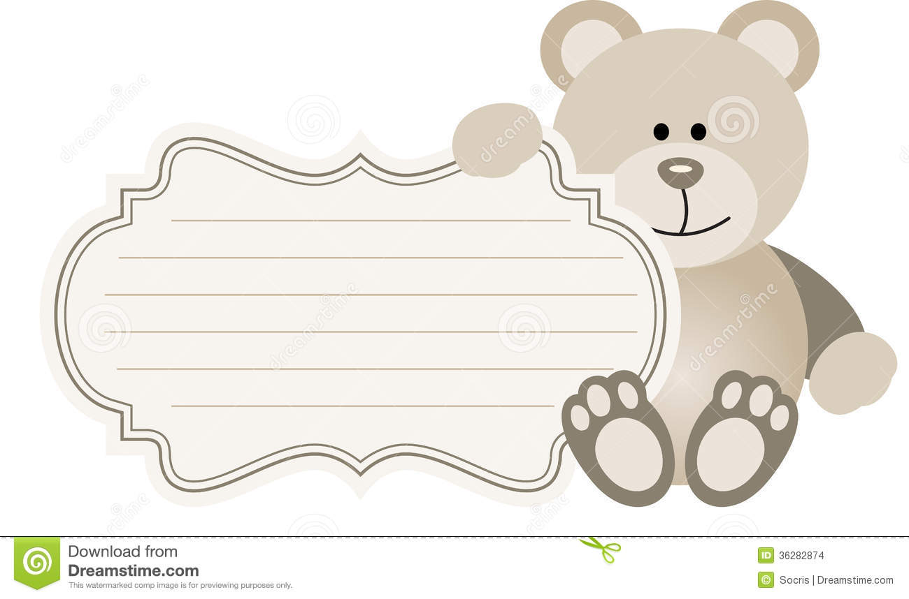 Baby Label Teddy Bear Stock Images - Image: 36282874