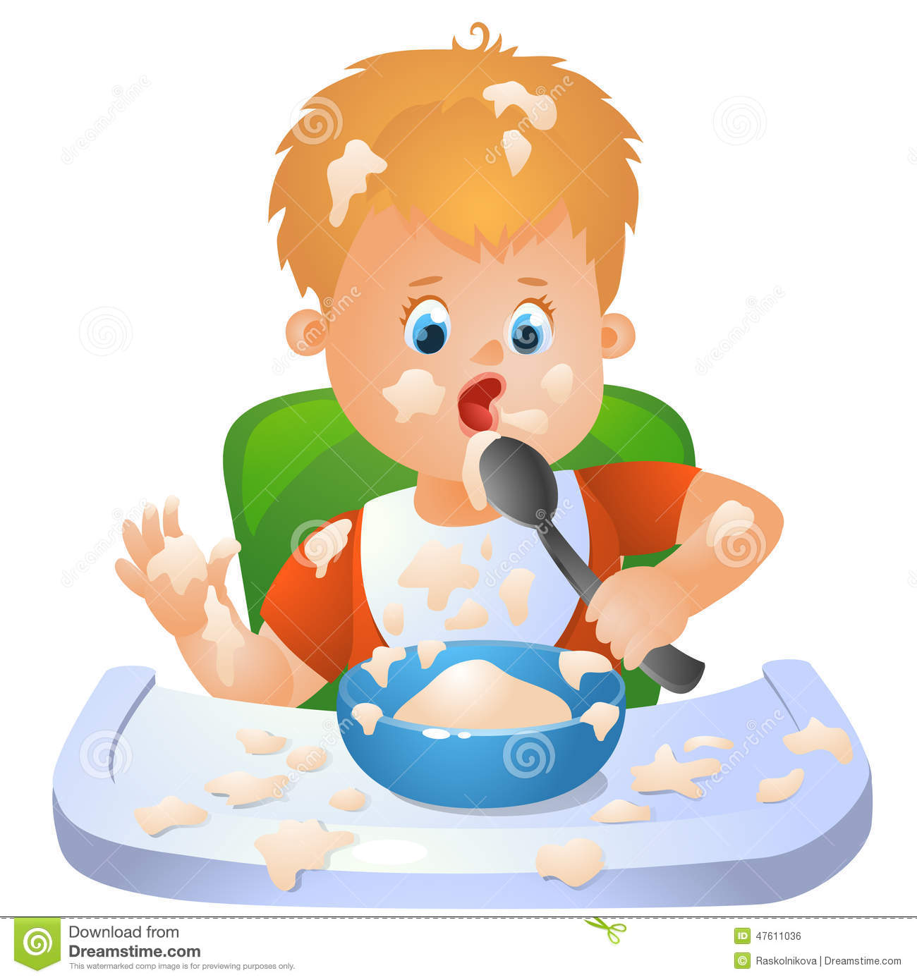 Baby Is Learning To Eat Stock Vector Image 47611036