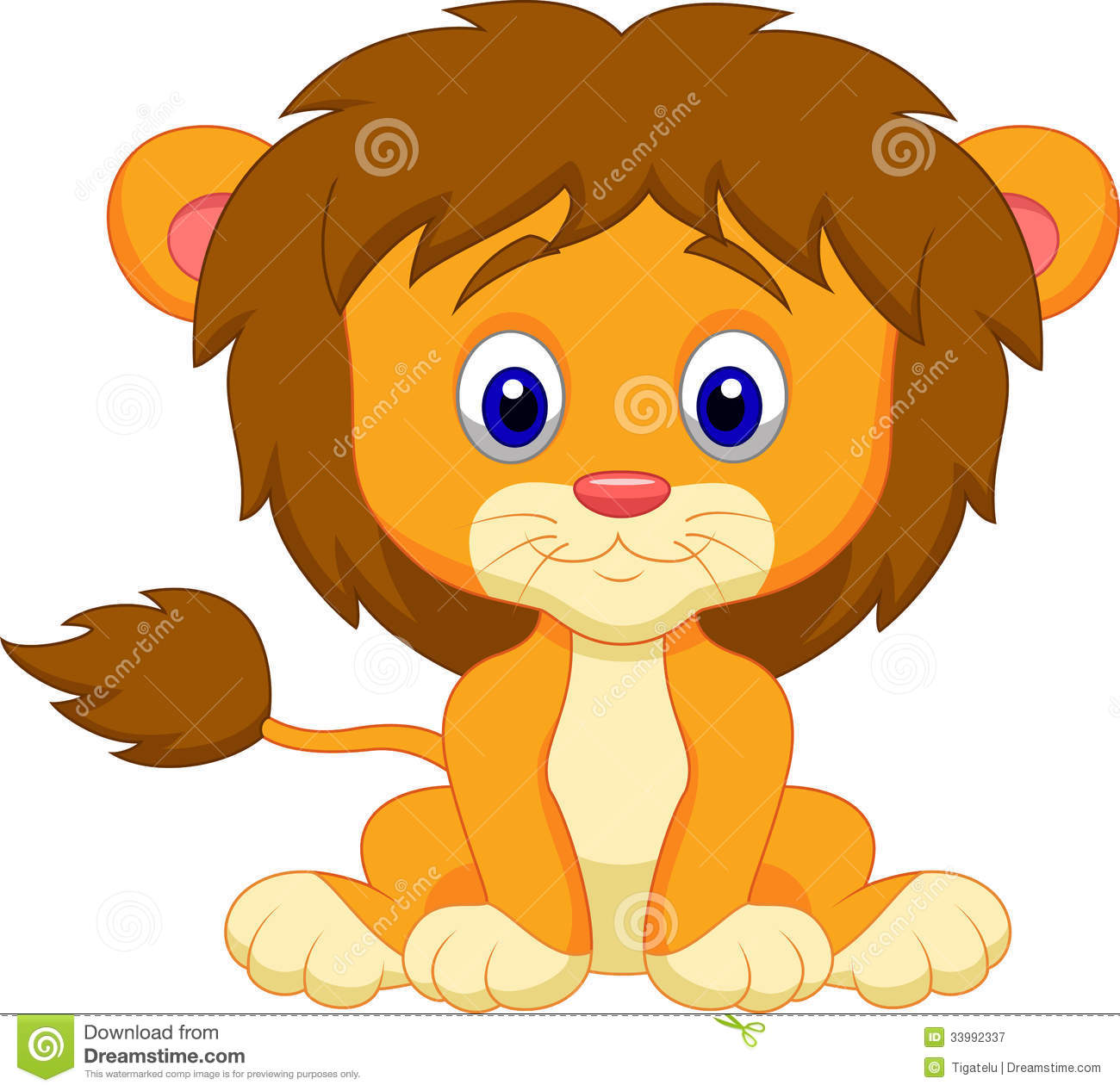 Baby Lion Cartoon Sitting Royalty Free Stock Photography - Image ...