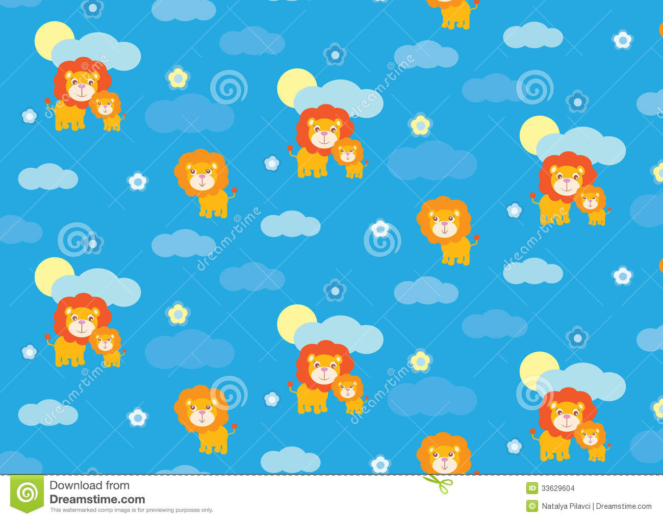 Baby Lion Seamless Pattern Stock Images - Image: 33629604