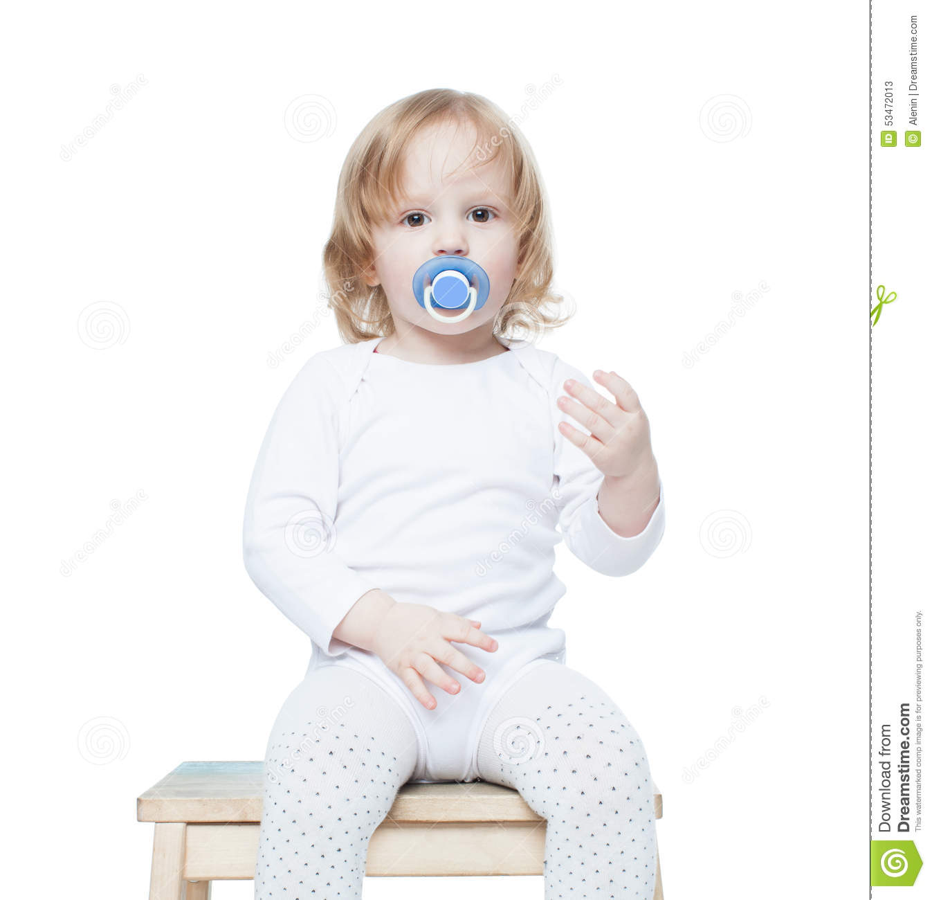 Cute Baby Girl On White Background With Isolation Royalty