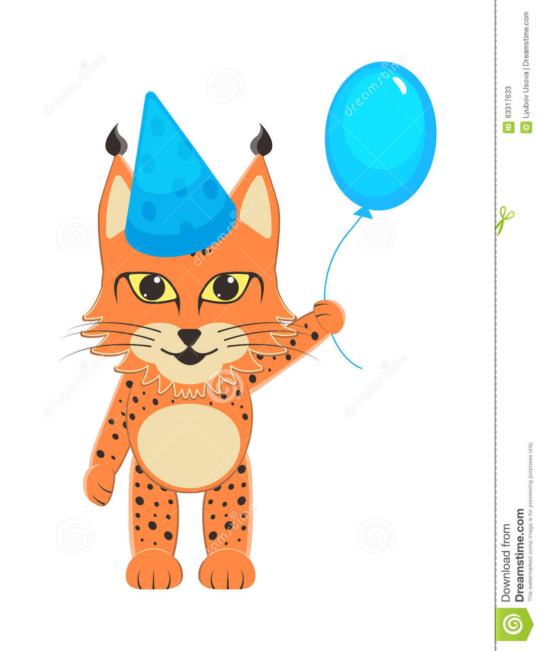 Baby Lynx In The Blue Cap With The Blue Bouncy Ball In The Foot ...