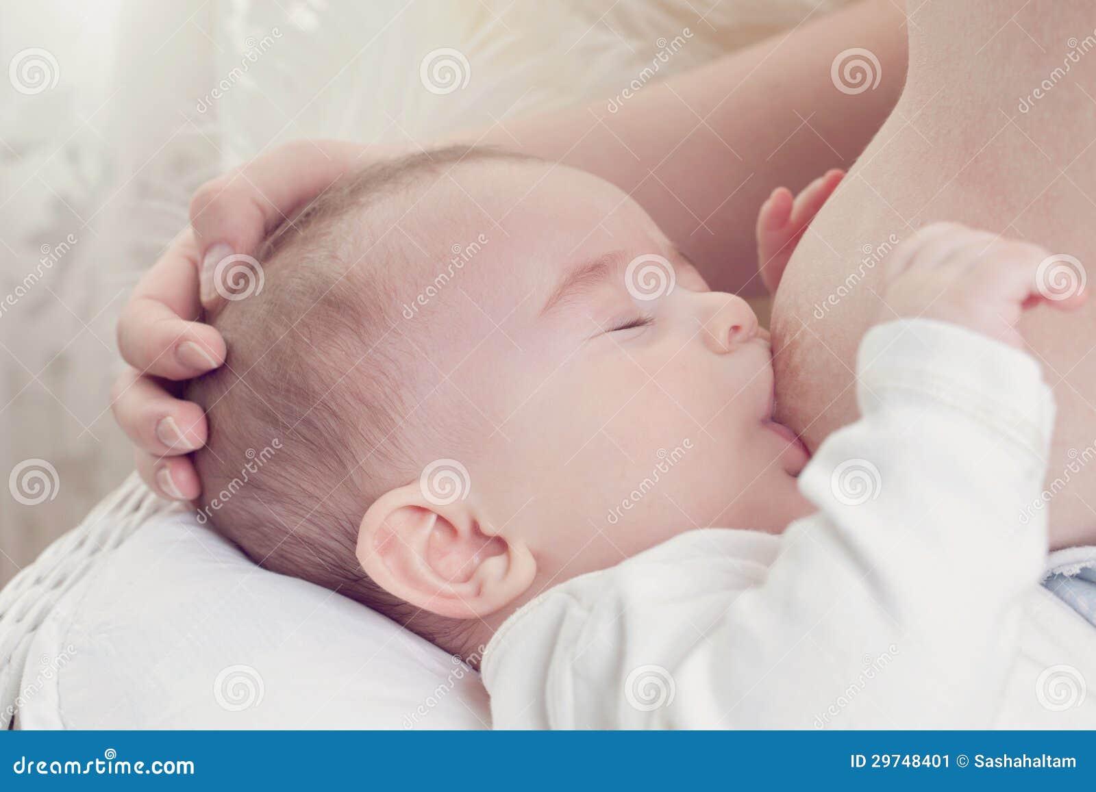 Sucking mom boob in sleeping