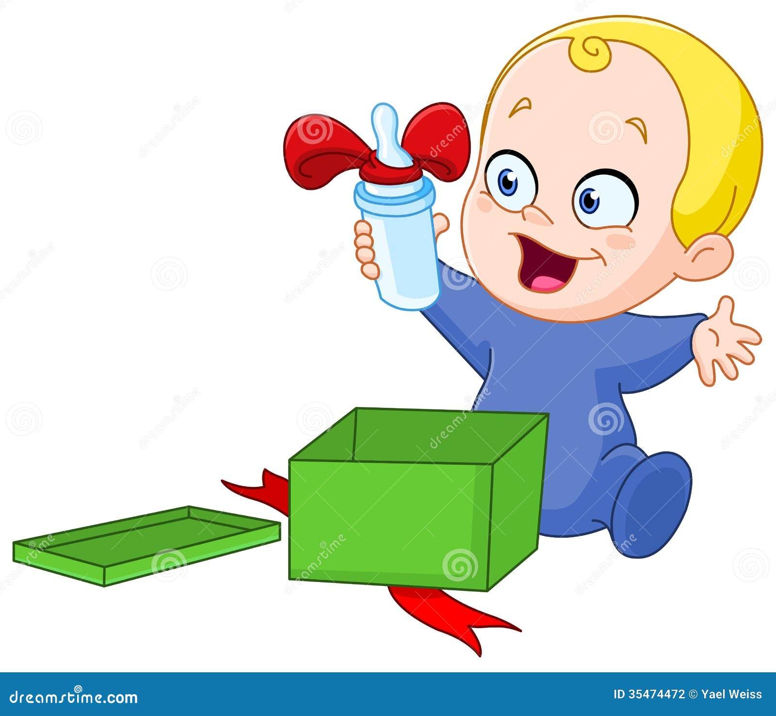 Baby Mit Weihnachtsgeschenk Vektor Abbildung - Illustration von ...