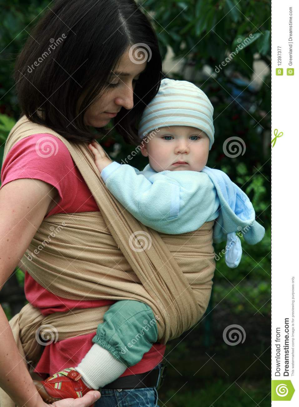 Baby With Mom In Sling Stock Image Image Of Parent
