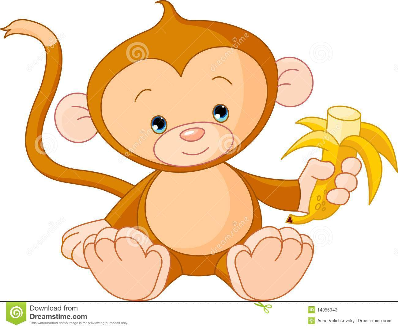 baby monkey eating banana stock vector  image of clip